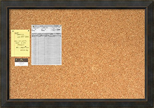 Framed Cork Board Large, Signore Bronze Wood: Outer Size 40 x 28'' by Amanti Art