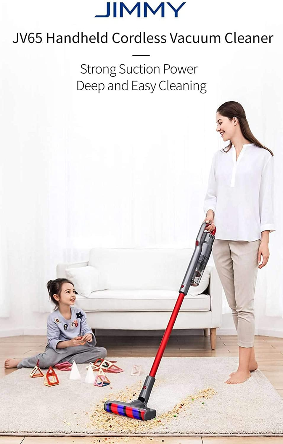 JIMMY JV65 Cordless Stick Vacuum Cleaner – Red