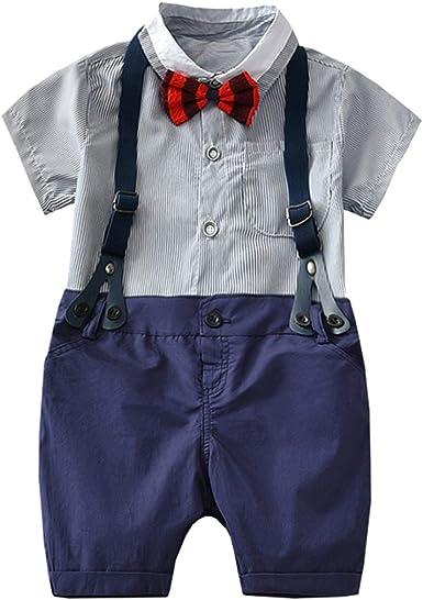 Fairy Baby Niñito Traje de Caballero Equipar Niños Bebes Camisa Formal + Tirantes Cortos: Amazon.es: Ropa y accesorios