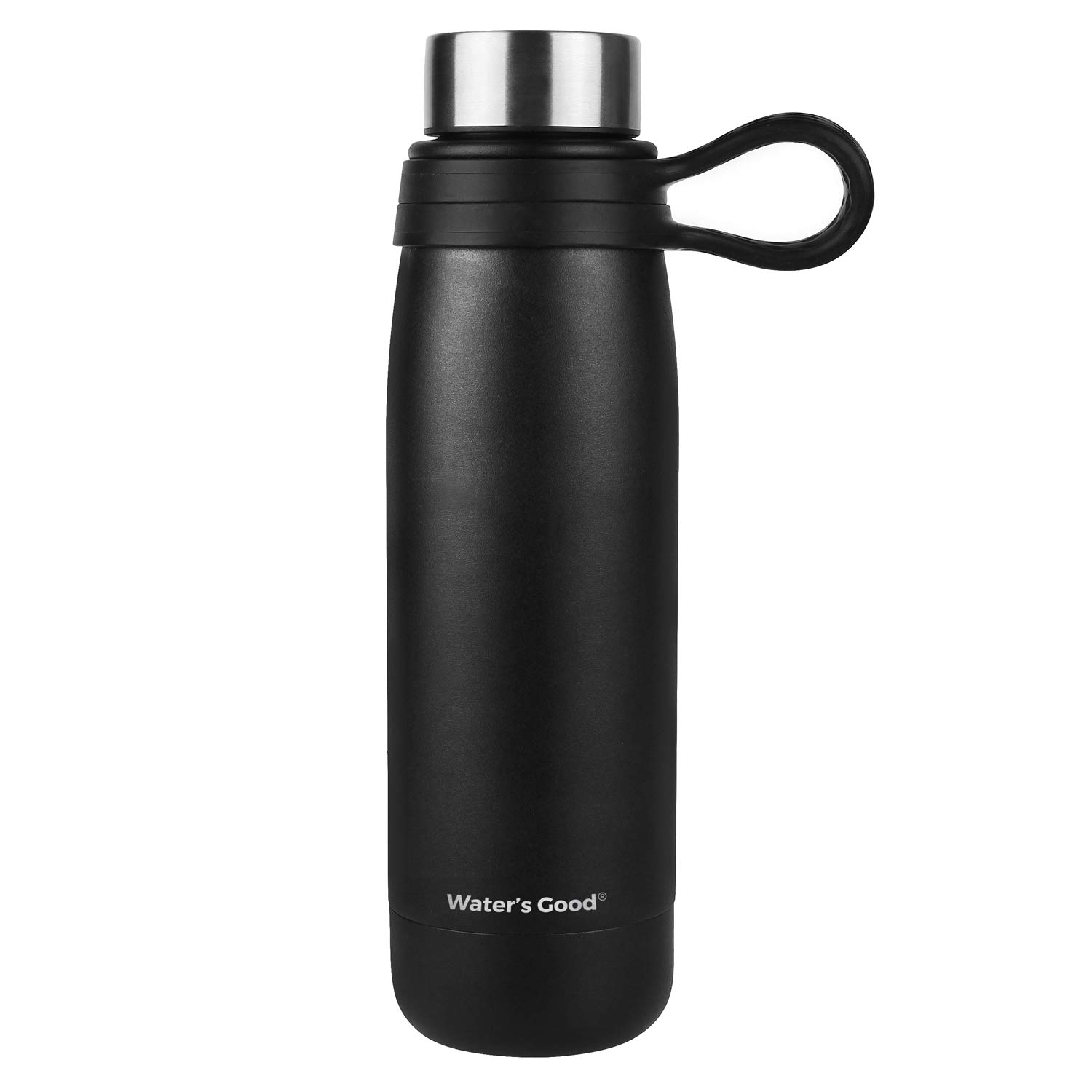 WATER'S GOOD Stainless Steel Vacuum Insulated Water Bottle with Handle, 18 oz Steel Cap Easy Drinking Bottles Black, Keeps Drinks Hot 12 Hours Cold 24 Hours