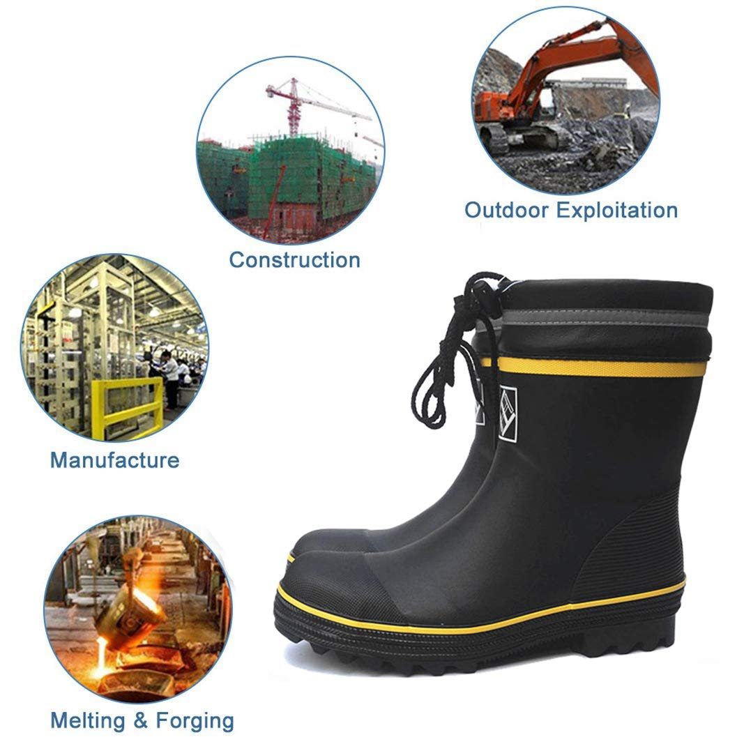 Amazon.com: Yooabc Mens Rain Boots Work Safety Shoes Waterproof Anti-Slip Boots Steel Toe Footwear Industrial Construction Shoes: Shoes