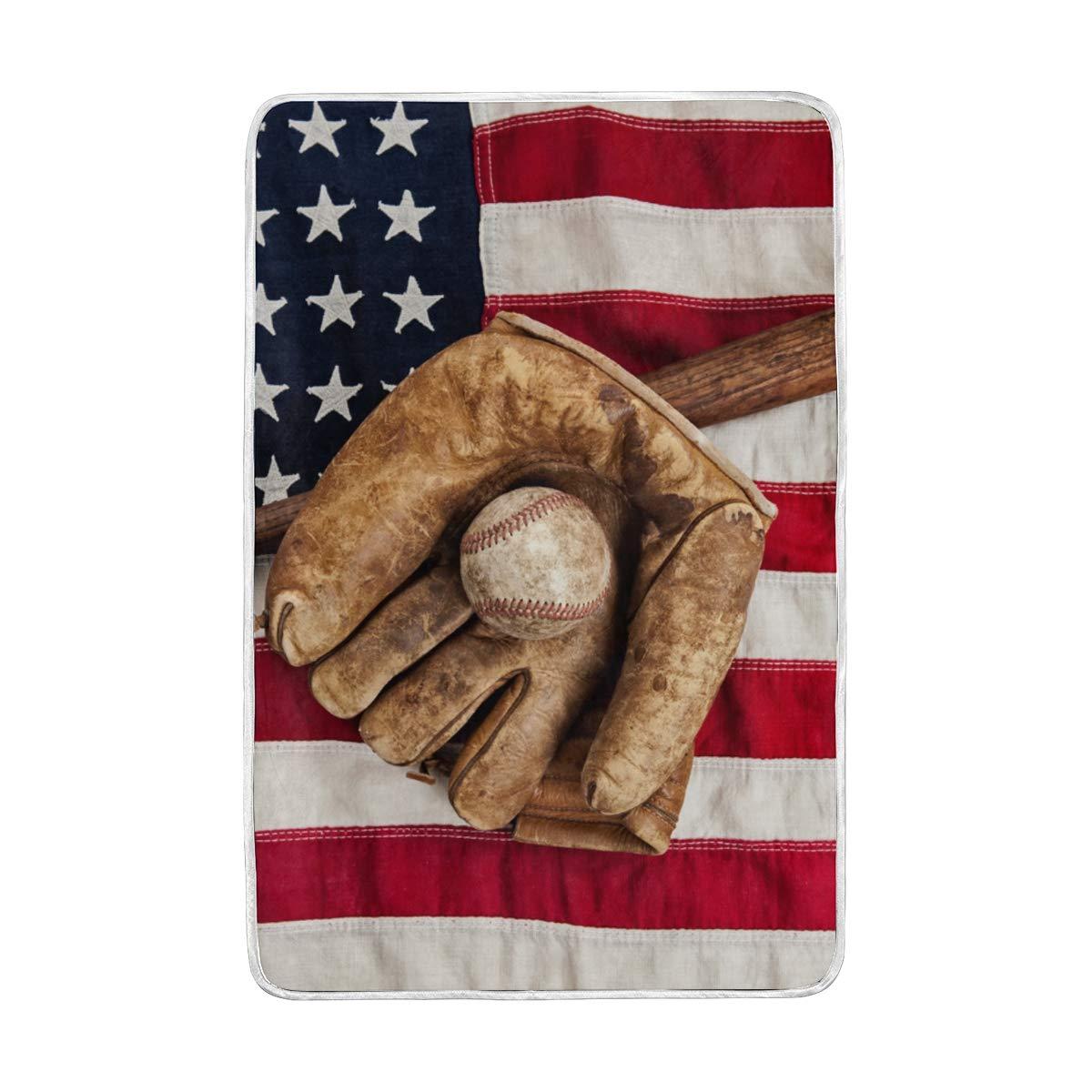 MOFEIYUE アメリカ国旗 スポーツ 野球 スロー ブランケット ソフト 暖かい マイクロファイバー ベッド カウチ ブランケット 大人 女の子 男の子 子供 60 x 90 インチ B07K2Y38W9