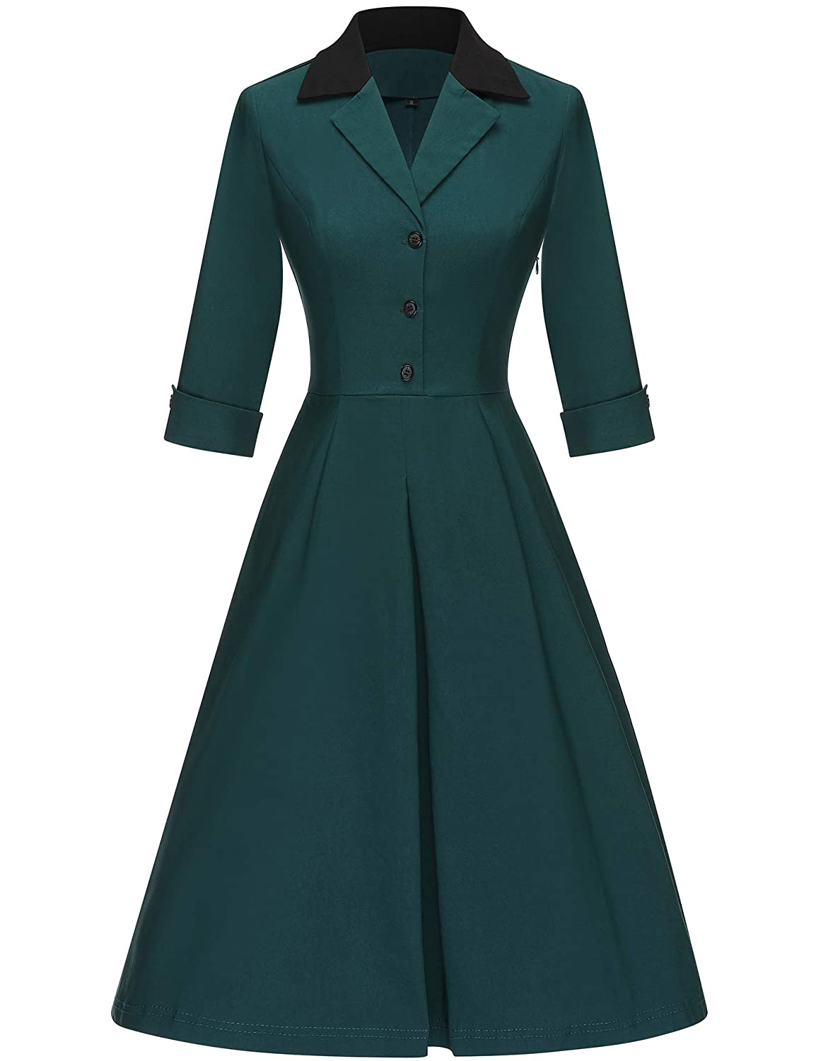 1940s Fashion Advice for Tall Women GownTown Womens 1950s Vintage 3/4 Sleeves A-Line Dress $36.98 AT vintagedancer.com