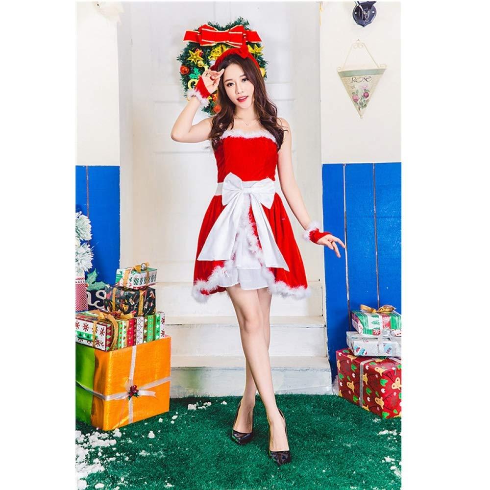 Olydmsky Weihnachtskostüm Damen,Rot Weihnachten Kostüm Mädchen sexy cos Leistung Kleid Weihnachtskostüm