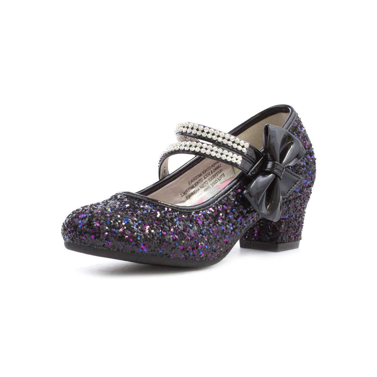 Black Lilley Sparkle Girls Black Heeled Glitter Bar Shoe Size 3 UK