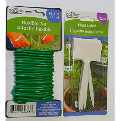 Simple Dream Garden Flexible Ties for Plants 16.5 Ft. and Plant Tags: Garden & Outdoor
