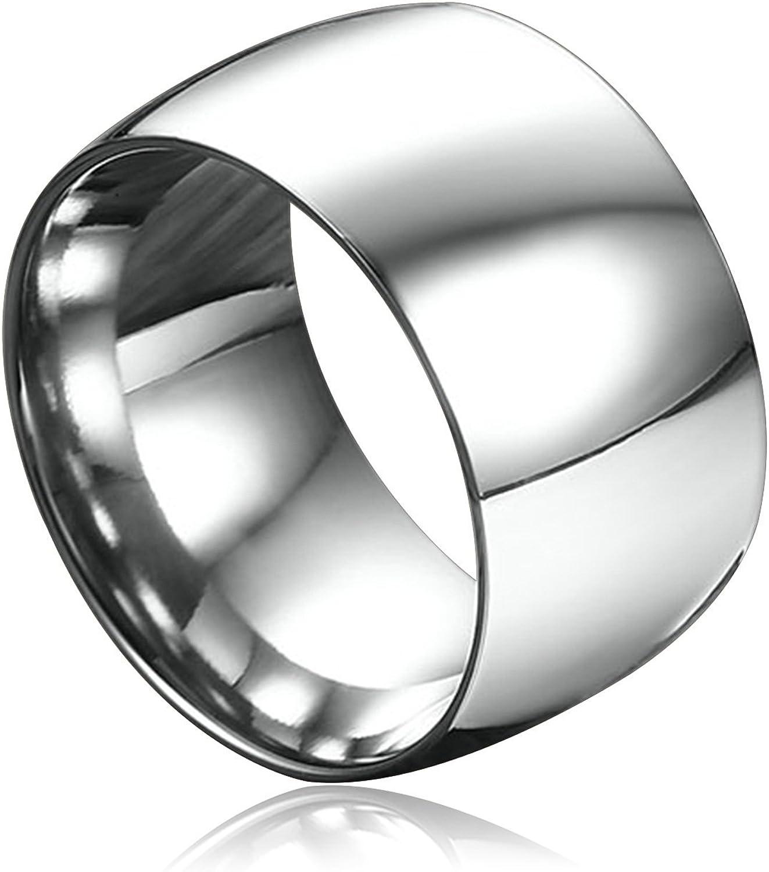 Aokarry DOMED - Anillo de acero inoxidable para el pulgar para hombre, color negro/oro/plata, 11,5 mm: Amazon.es: Joyería