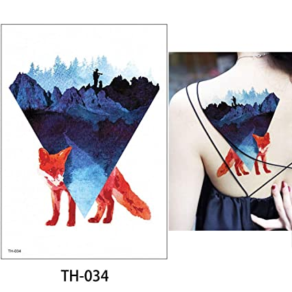 98bf2647a Image Unavailable. Image not available for. Color: s1 1 Sheet Watercolor  Animal Temporary Tattoo Fox Wolf Decal Body Sticker Water Transfer Tattoo  Paper