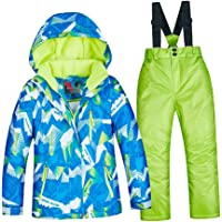 F Fityle Kids Ski Suit Set - Hooded Jacket and Snow Bib Trousers 2-Piece Winter Snowsuit Outfits Set