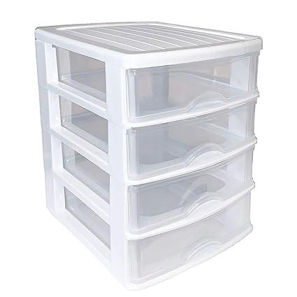 Plastic Forte Cajonera de plástico 4 cajones-Blanco 23 x ...