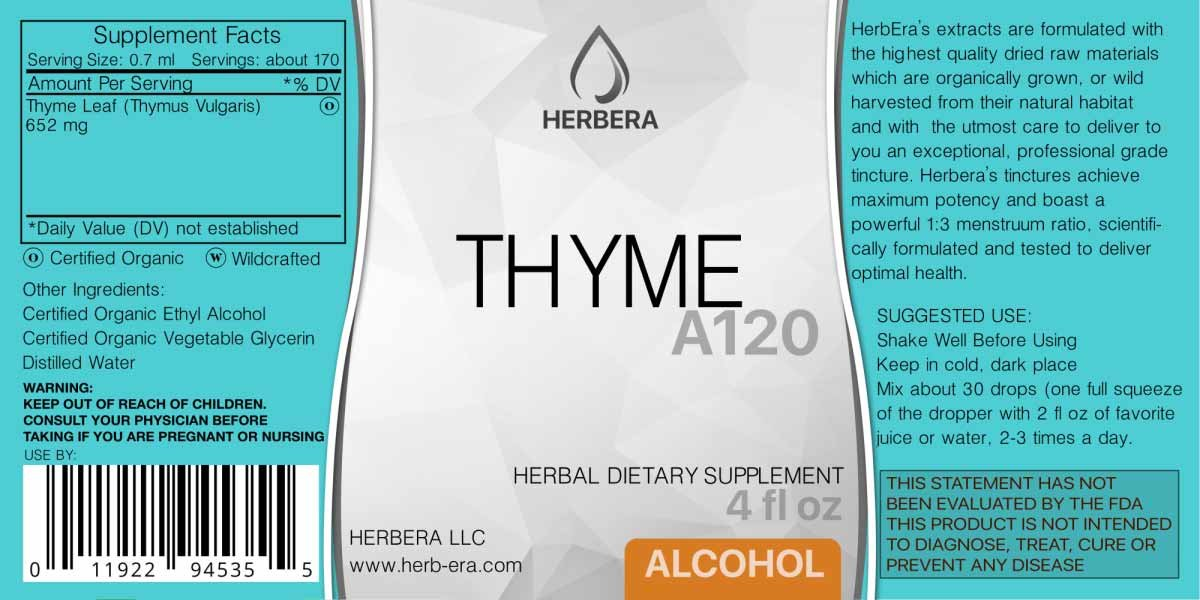 Amazon.com: Thyme A120 Alcohol Herbal Extract Tincture, Super-Concentrated Organic Thyme (Thymus Vulgaris) Dried Leaf (4 fl oz): Health & Personal Care
