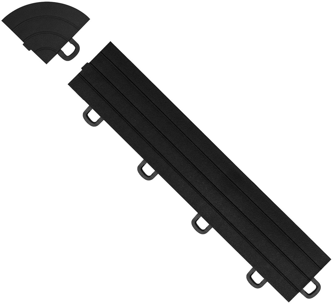 Black 14-Pack BlockTile R1US4212 Interlocking Ramp Edges With Loops