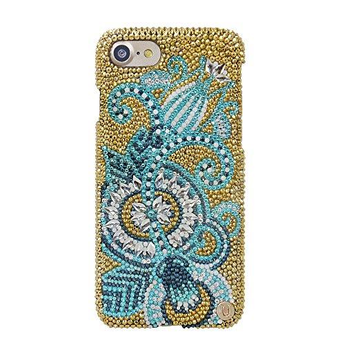 Uunique Millionär Swarovski Hartschale Golden Blaugrün Paisley Schutzhülle für iPhone 7