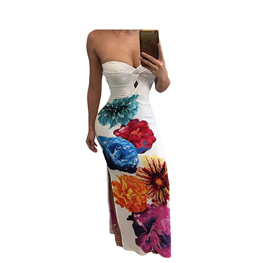 Amazon.com: Eloise Isabel Fashion bandeau backless dividir maxi dress NEW mulheres print floral fora do ombro bodycon longo dress vestidoslc61534: Clothing