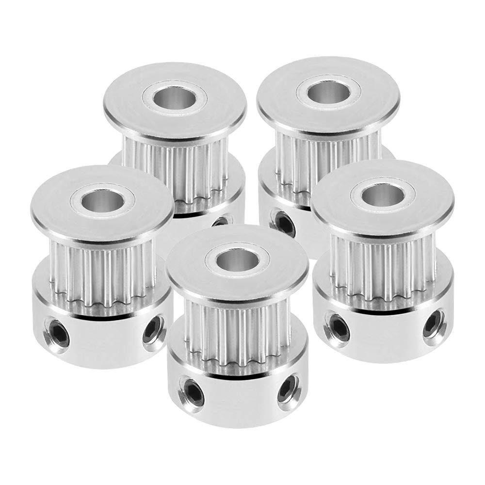 Saiper 5pcs GT2 20 Teeth 6.35mm Bore Timing Pulley Aluminum Synchronous Wheel for 6mm Belt Compatible with RepRap 3D Printer Prusa i3
