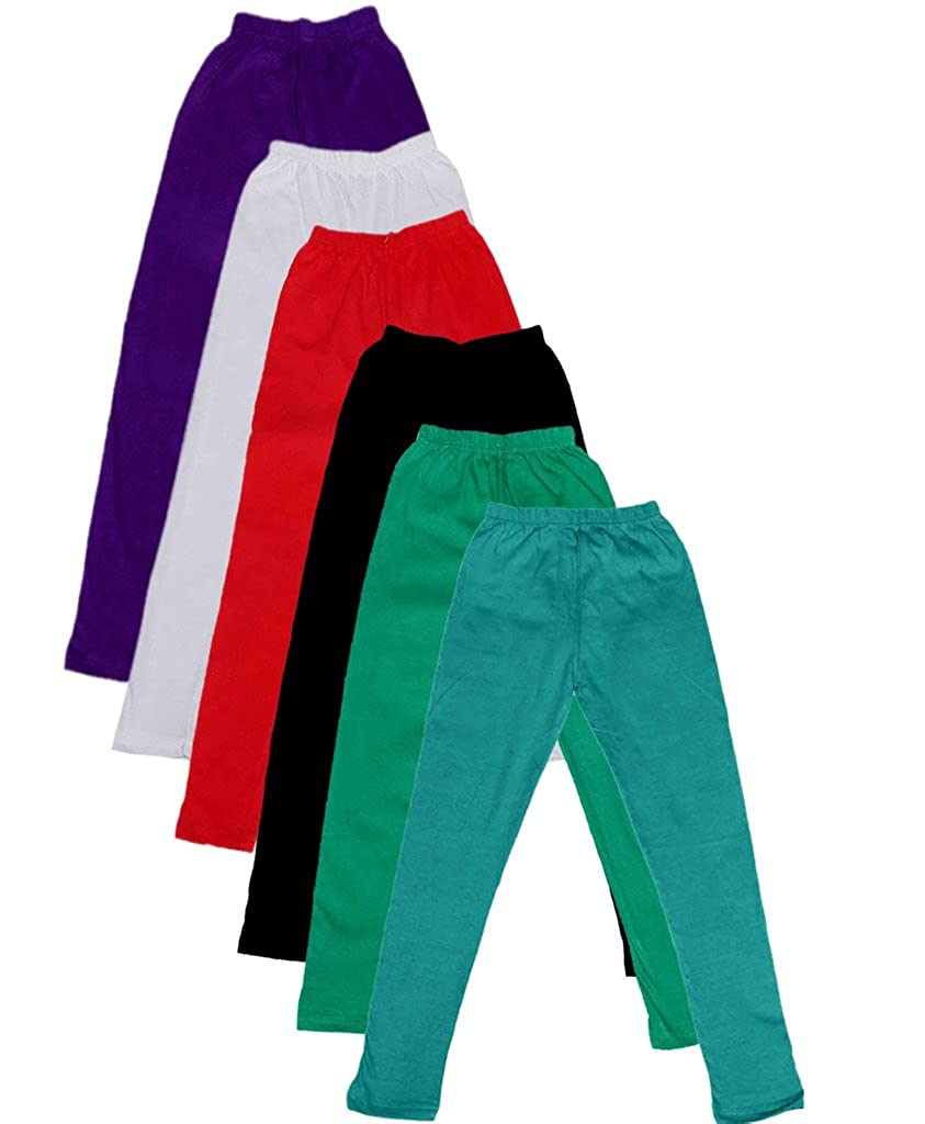 -Multiple Colors-7-8 Years Indistar Big Girls Cotton Full Ankle Length Solid Leggings Pack of 5