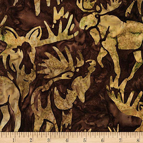 Robert Kaufman Wildlife Sanctuary 5 Moose Brown Fabric Fabric by the Yard