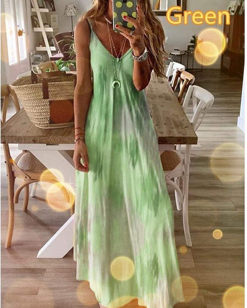 MUDEREK Womens Casual Spaghetti Strap Sleeveless V-Neck Swing Maxi Dress Dresses