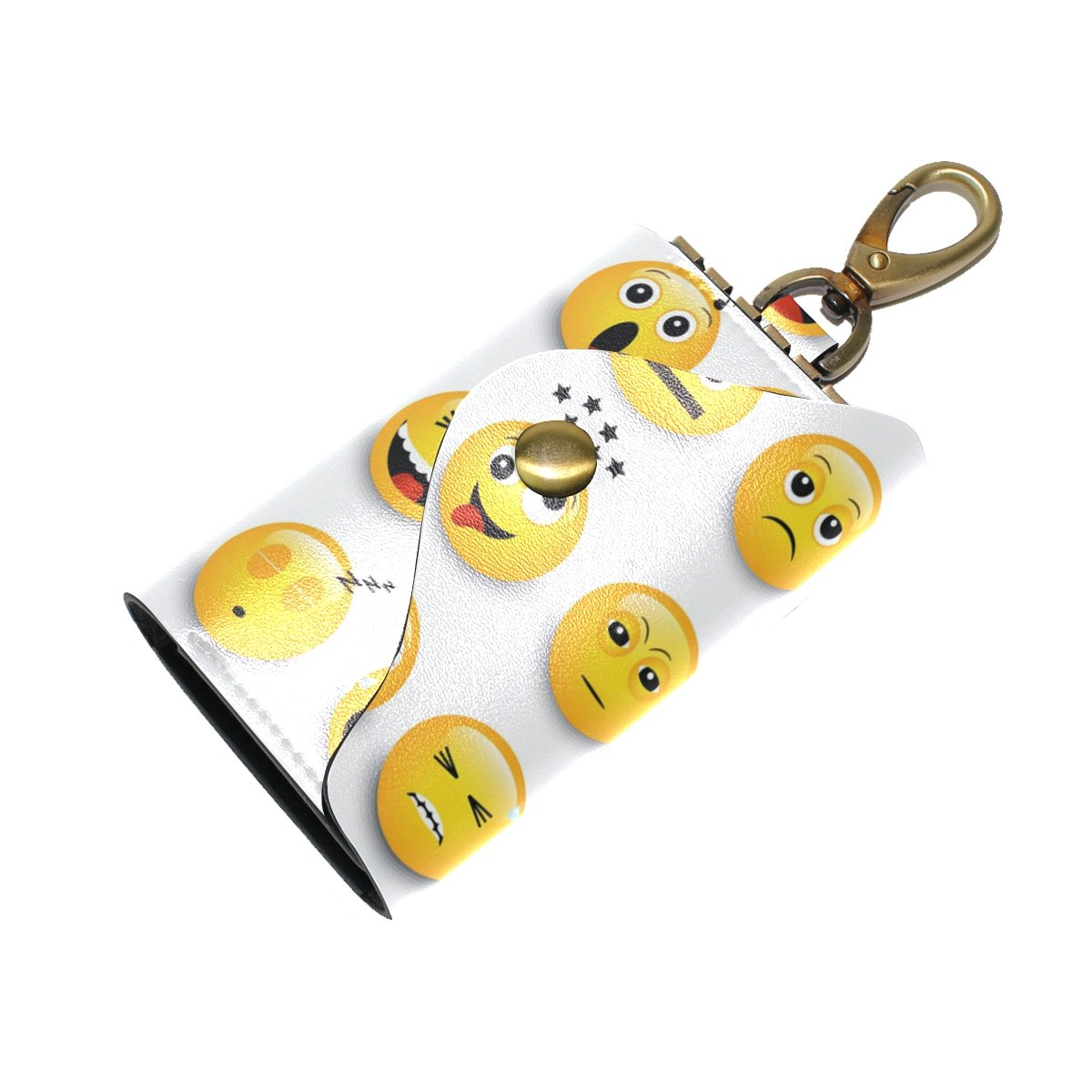 KEAKIA Yellow Emoticons Emojis Leather Key Case Wallets Tri-fold Key Holder Keychains with 6 Hooks 2 Slot Snap Closure for Men Women