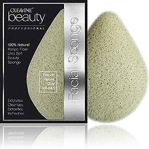 Oleavine All Natural Konjac Sponge - French Green Clay - Gentle Exfoliating Facial Sponge