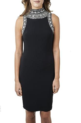 Joseph Ribkoff Black Sleeveless Jeweled Halter Neck Dress Style 171950