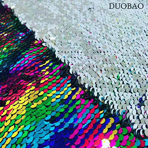 (Sewing Fabric by The Yard 2 Yards Rainbow to Silver Color Change Fabric Double Sided Sequin Fabric Mermaid Sequin Fabric)