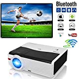 CAIWEI LED Wifi HD Projector 1080P HDMI Home Cinema Gaming WXGA 5000 Lumens Android Bluetooth Projector Wireless for iPhone iPad Mobile Phone Bluray DVD Player TV Xbox PS3 PS4 Wii U Consoles Mac PC Laptop TV 200 Inch Screen Movie Projectors