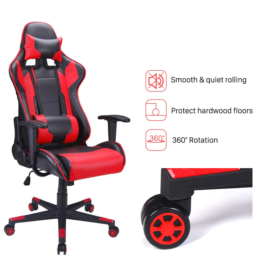 Polar Aurora Gaming Chair Racing Style High-Back PU Leather Office Chair Computer Desk Chair Executive Ergonomic Style Swivel Chair Headrest Lumbar Support