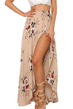 b95225a81 Mupoduvos Women Casual High Waist Floral Print Asymmetric Side Slit Maxi  Skirt at Amazon Women's Clothing store: