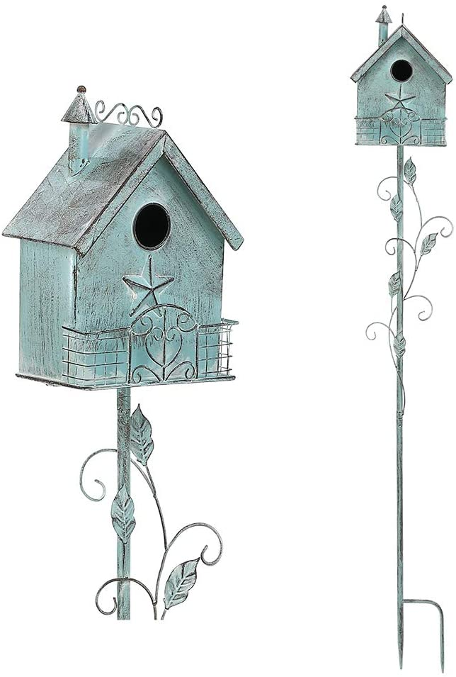 Brogan 57 Inch Tall Distressed Teal Birdhouse Garden Stakes Art, Bird House Decorative for Lawn Patio Yard Art or Other Outside Space, Country Cottage Design Style