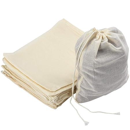 nuoshen 50pcs Cotton Muslin Drawstring Bags,100/% Cotton Reusable Mesh Bags with Drawstring