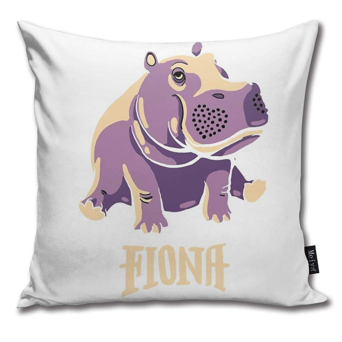 Cute Baby Hippo Pattern Square 18x18 Inches 45x45cm Throw Pillow Cover Case for Bedroom Couch Sofa Home Decor Vintage Fiona The Hippo Shirt #TeamFiona Merch