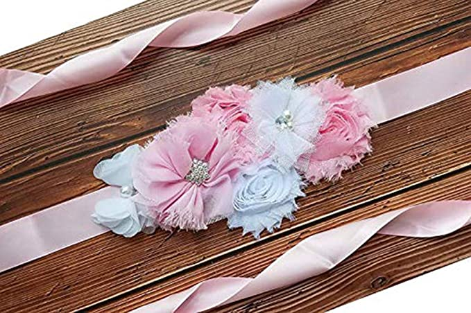 954cd56f4 Amazon.com  Maternity Pregnancy Sash Belt with Flower