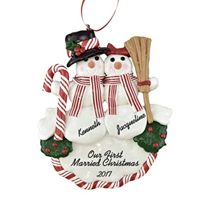 newlyweds first christmas snow couple christmas ornament calliope designs 1st married christmas free - Our First Married Christmas Ornament