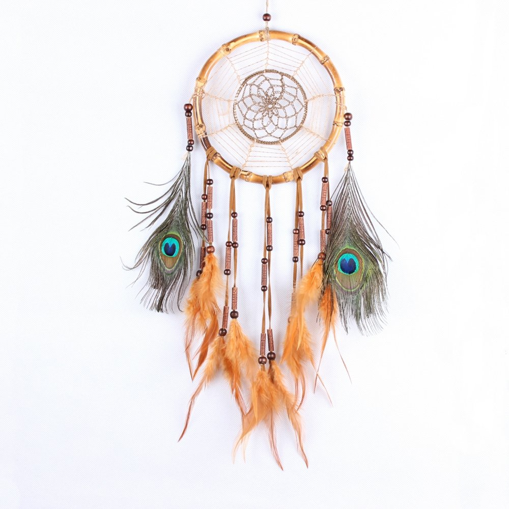 Karleksliv handmade nature bamboo circle Peacock feathers orange Dream Catchers christmas decorations for home ornamentsMS1051