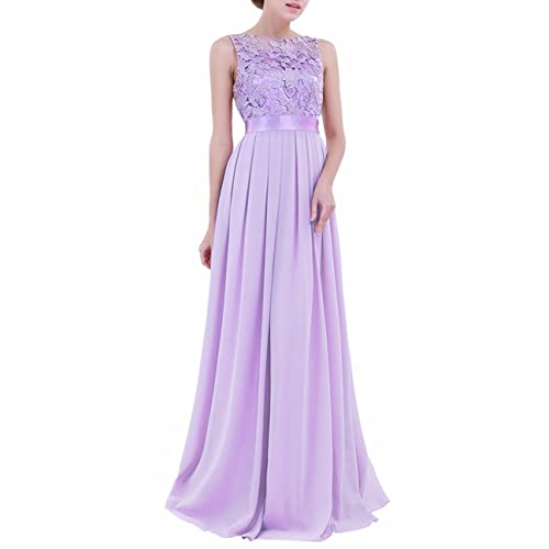 iiniim Womens Vintage Elegant Floral Lace Sleeveless Evening Prom Ball Gown Long Maxi Wedding Bridesmaid Dress