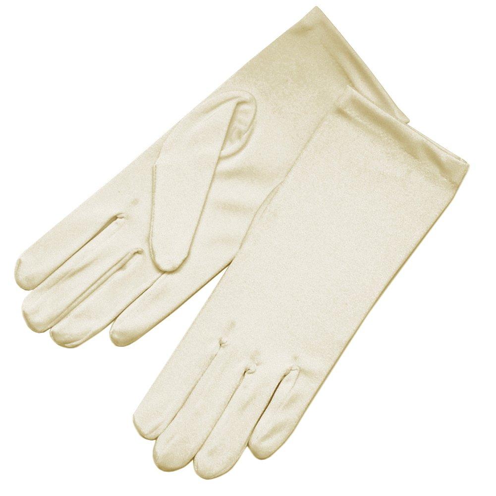 ZaZa Bridal 4-Way Stretch Matte Finish Satin Dress Gloves Wrist Length 2BL-Dark Ivory