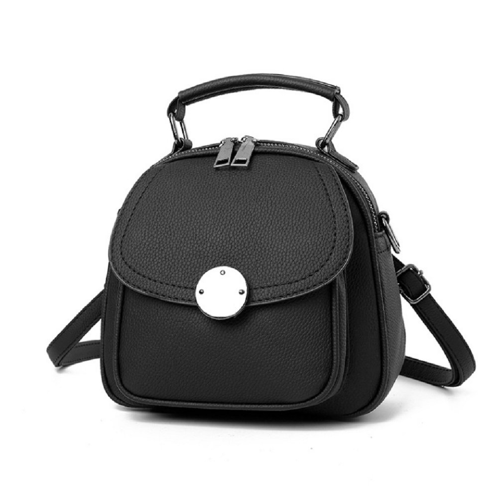 Mytbag Women's Girls Small Leather Sling Shoulder Daypack Backpack, Crossbody Travel Bag Purses for Women (Black)