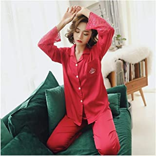HAOLIEQUAN Female Silk Pajamas Long Sleeve Viscose Twinset Spring Summer Lace Pajama Sets Women Sleepwear