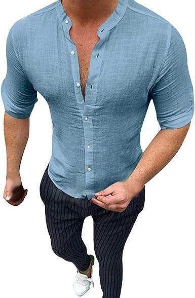 Camisas de Hombre T Shirt tee Camiseta de algodón y Lino Puro Verano Blusa los cómodo Top Color Puro Tops: Amazon.es: Ropa y accesorios