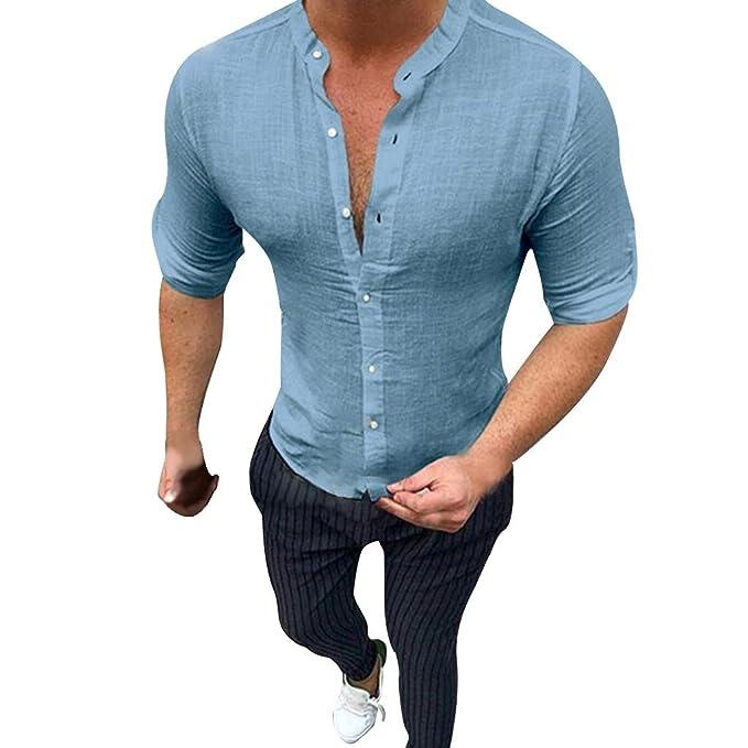 Vectry Verano De Los Hombres Moda De Algodón Puro Y Camisas De ...