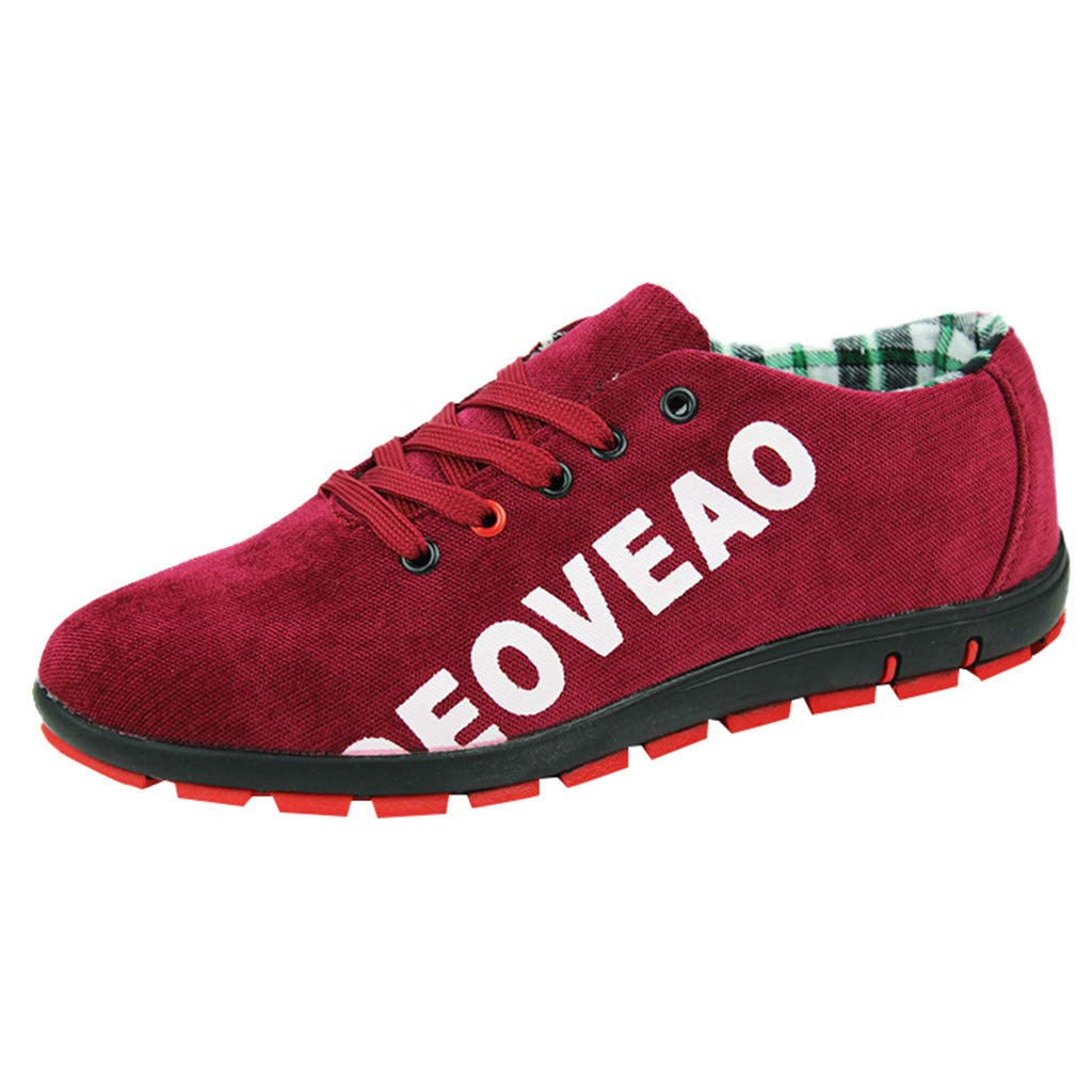 Men Canvas Shoes Casual Club Stylish Lightweight Tennis Sneakers Loafer Sneakers (US:7, Red)
