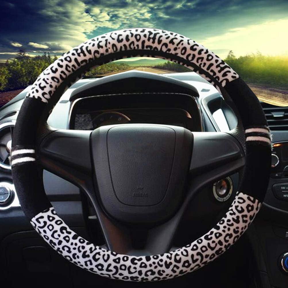 XCBYT Car Steering Wheel Cover for Women Warm Winter Fur Plush Animal Pattern Universal 15 inch Steering Wheel Cover