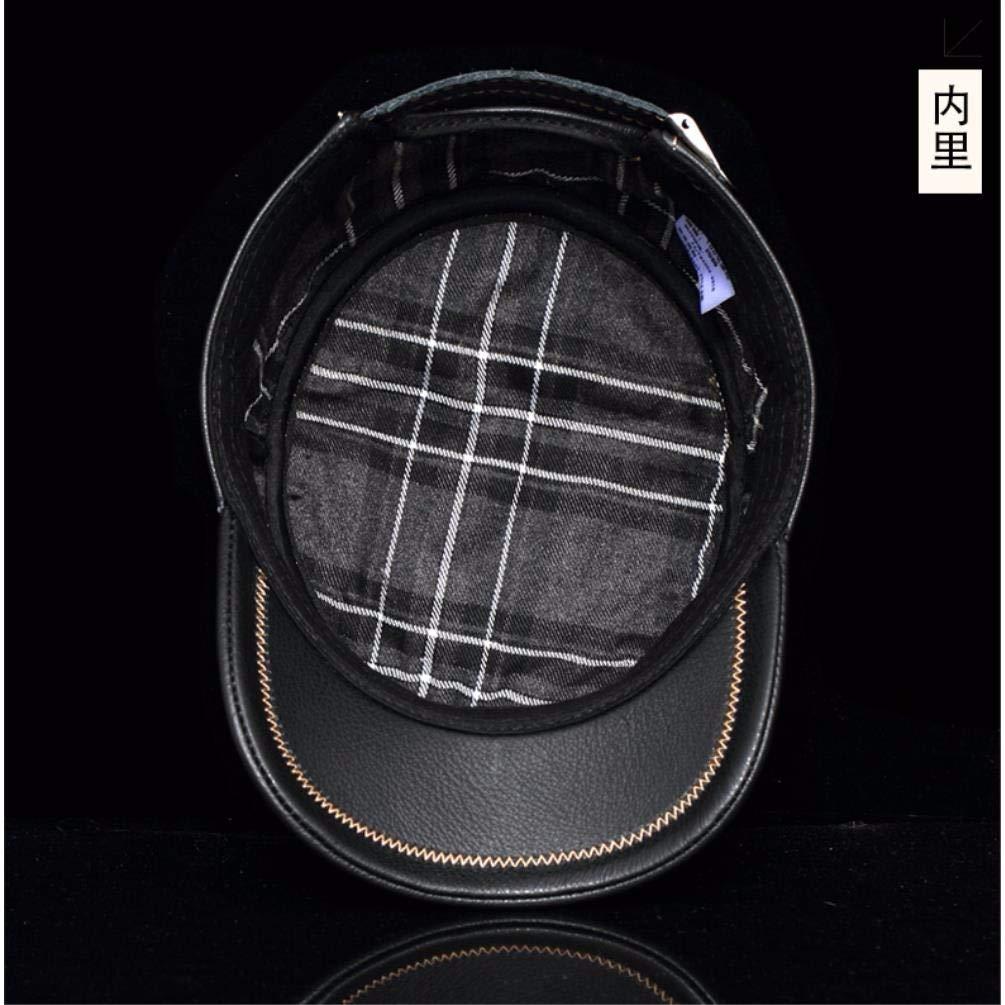 ERLINGSAN-PM Flache Mütze aus Leder für den Herbst und und Herbst Winter 7b5440