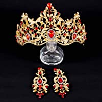 Awanka - Corona barroca de novia y tiaras con cristales dorados para boda, novia, reina, accesorios para el cabello…