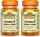 Sundown Naturals Vitamin A 2400 Mcg 8000 Iu Softgels, 100 Count