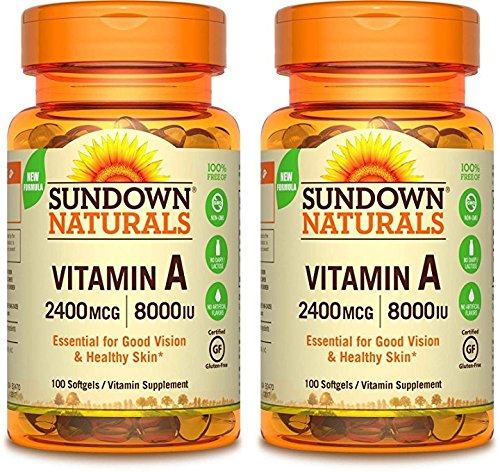 Sundown Naturals Vitamin A 2400 Mcg 8000 Iu Softgels, 100 Count by Sundown Naturals Vitamin A 2400 MCG 8000 IU Softgels, 100 Count (Pack of 2)
