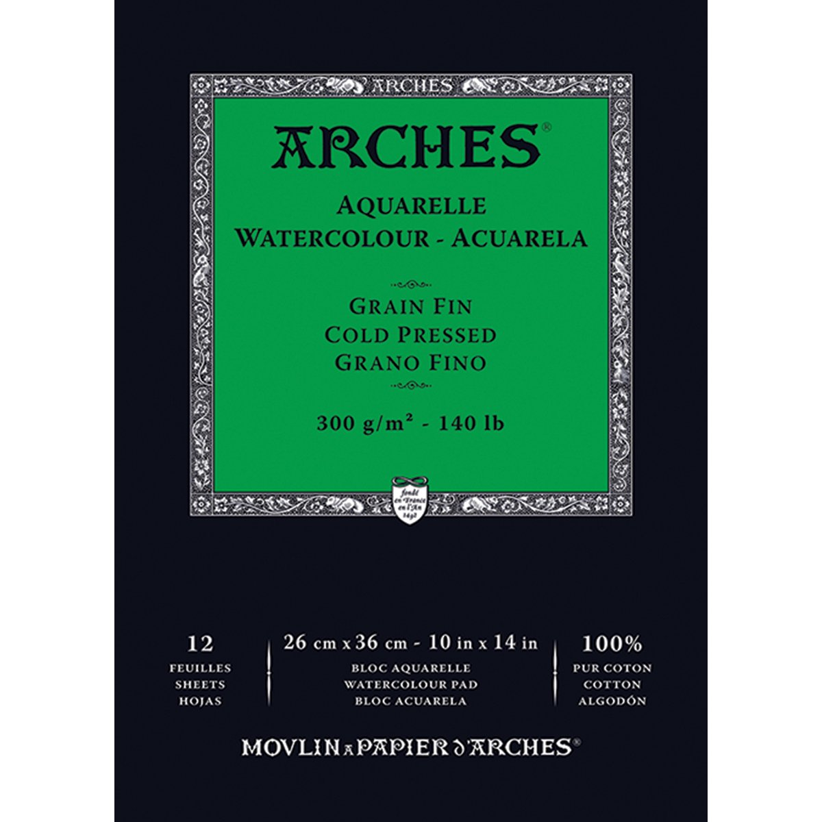 Winsor & Newton 1795093 Arches Watercolor Cold Pressed Paper Pad (12 Pack), 10'' x 14'' by Arches