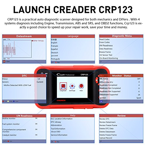 LAUNCH X431 Creader CRP123 Automotive Diagnostic Scan Tool OBD2 Auto Code Reader Support ENG/TCM/ABS/SRS System Code Reader with EL-50448 TPMS Activation Relearn Tool by LAUNCH (Image #6)
