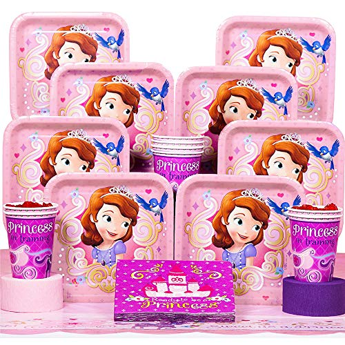Disney Junior Sofia the First Deluxe Party Supplies Pack Including Plates, Cups, Napkins and Tablecover - 16 Guests